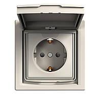 Розетка с крышкой и шторками Schneider Electric Asfora с заземлением кремовая (EPH3100323)
