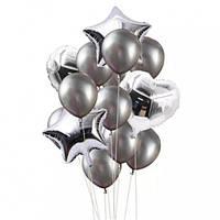 Набор фольгированных и латексных шаров серебро (14 шт. в уп.)