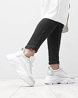 Женские кожаные кроссовки перфорация толстая высокая подошва натуральная кожа белые
