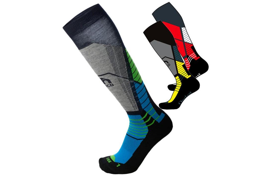 Шерстяні лижні термошкарпетки Mico Ca 0118 кол. Чорний-синій-зелений | розмір L (41-43)