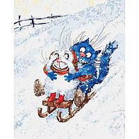 Картина по номерам Зимние гуляния, размер 40*50 см, зарисовка полная