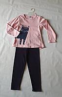 Костюм трикотажный на девочку реглан розовый с Котом и лосины на 116 см