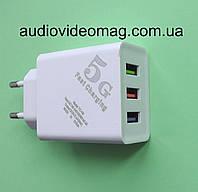 Блок питания ТС06 5V 2A три гнезда USB