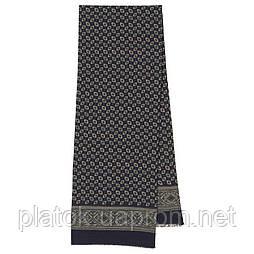 Виктор 589-14, павлопосадский шарф (кашне) шерстяной  двусторонний мужской с осыпкой