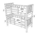 Ліжко двоярусне з вільхи під матраци 90х190 см, фото 2