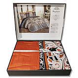 Комплект постельного белья  nazenin сатин размер евро Flora kiremit, фото 2