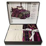 Комплект постельного белья  nazenin сатин размер евро Firuze murdum, фото 2