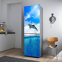 """Виниловая наклейка на холодильник.""""Дельфин и волны"""""""
