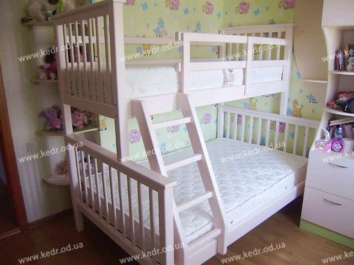 Дитяча двох'ярусна ліжко з вільхи під матраци 90х190см і 120х190 см