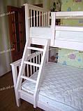 Дитяча двох'ярусна ліжко з вільхи під матраци 90х190см і 120х190 см, фото 2