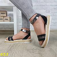 Босоножки сандалии на платформе соломенной низкий ход черные никель, фото 1
