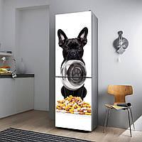"""Виниловая наклейка на холодильник """"Французский бульдог с миской""""., фото 1"""