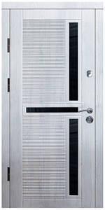 """Входные двери металлические, рис. """"Орион"""" №3, Цвет Белое дерево, черное стекло"""
