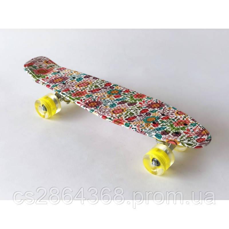 "Пенни Борд 22"" Penny Board 22"" Flowers со светящимися колесами"