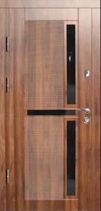 """Входные двери металлические, рис. """"Орион"""" №3, Цвет ПВХ-40, черное стекло"""