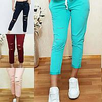 Женские штаны на лето, легкие штаны 7/8 с прорезью S/M/L/XL/2XL/3XL/4XL