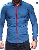 0-30-71 Стильная мужская рубашка синего цвета с красной планкой