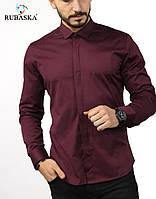 61-07-411 Стильная мужская рубашка цвета марсал с планкой