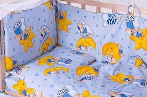 Бортики в детскую кроватку защита бампер Мишки голубые для новорожденных, фото 2