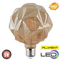 Светодиодная филаментная лампа кристал RUSTIC CRYSTAL 6W 2200К AMBER HOROZ