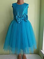 Святкова дитяча сукня «Блиск», лазурна, фото 1