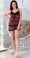 Женская бархатная пижама спальный комплект нижнее белье шорты и маечка с кружевом розовая 42 44 46 48