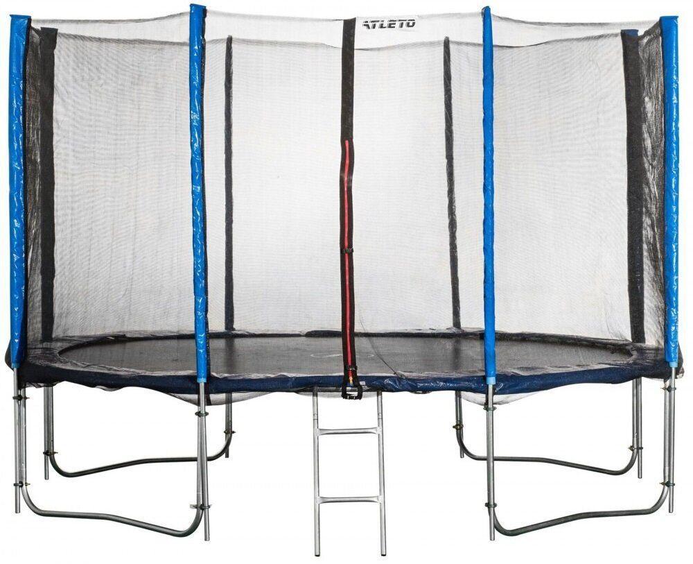 Батут на 490 см с двойными ногами и сеткой оснащен 108 оцинкованными пружинами с лестницей синий
