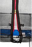 Батут на 490 см с двойными ногами и сеткой оснащен 108 оцинкованными пружинами с лестницей синий, фото 3