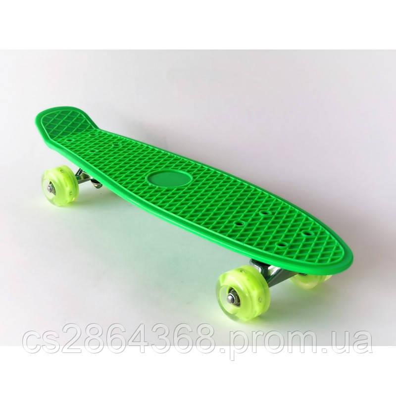 "Пенни Борд 22"" Penny Board 22"" Green со светящимися колесами"