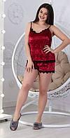 Женская бархатная пижама спальный комплект нижнее белье шорты и маечка с кружевом бордовая 42 44 46 48