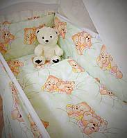 Бортики в детскую кроватку защита бампер Мишка салатовый для новорожденных