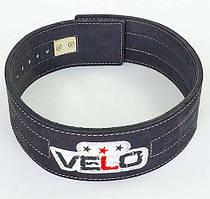 Пояс для пауерліфтингу шкіряний професійний із застібкою-автомат VELO ZB-5785