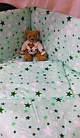 Бортики в детскую кроватку защита бампер Зеленый для новорожденных