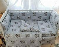 Бортики в детскую кроватку защита бампер Серый для новорожденных