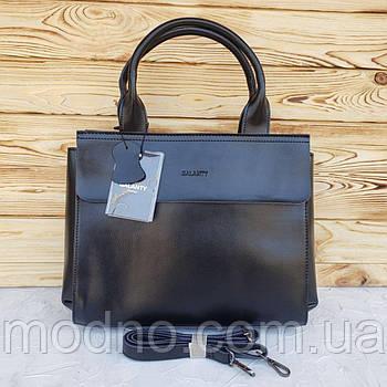 Женская кожаная сумка с длинным ремешком черная Galanty