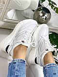 Стильные белые женские кроссовки, фото 4
