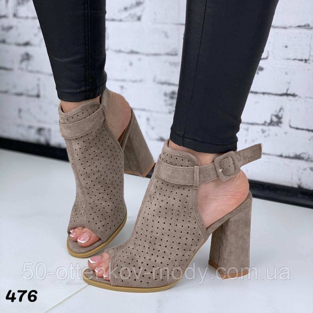 Женские летние босоножки - ботинки с открытым носиком, черные, хаки, пудра