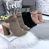 Женские летние босоножки - ботинки с открытым носиком, черные, хаки, пудра, фото 2