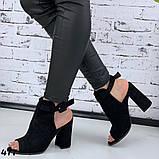 Женские летние босоножки - ботинки с открытым носиком, черные, хаки, пудра, фото 4