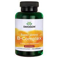 Супер Стресс Комплекс Витаминов Группы B + Витамин С, 100 капсул