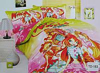 """Комплект детского постельного белья полуторный хлопковый Elway TD-183 """"Феи Winx"""""""