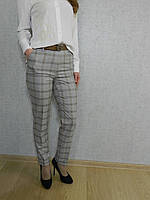 Брюки женские классические в клетку серый-беж, длиной семь восьмых, офисные, повседневные, под белую блузу