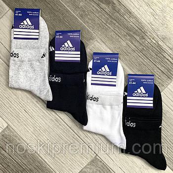 Носки мужские спортивные х/б с сеткой Adidas, Sport Socks, 41-44 размер, средние, ассорти, 12634