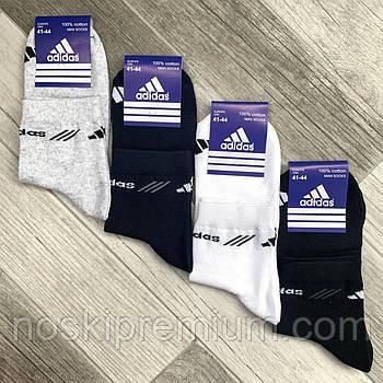 Носки мужские спортивные х/б с сеткой Adidas, Sport Socks, 41-44 размер, средние, ассорти, 12635