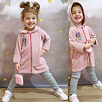 Удлиненная кофточка с капюшоном для девочки р.92-98,104-110,116-122,128-134