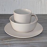 """Посуда столовая """"Jacob"""", набор 3 предмета (кремовый матовый), фото 1"""