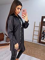Черный трендовый костюм из эко-кожи