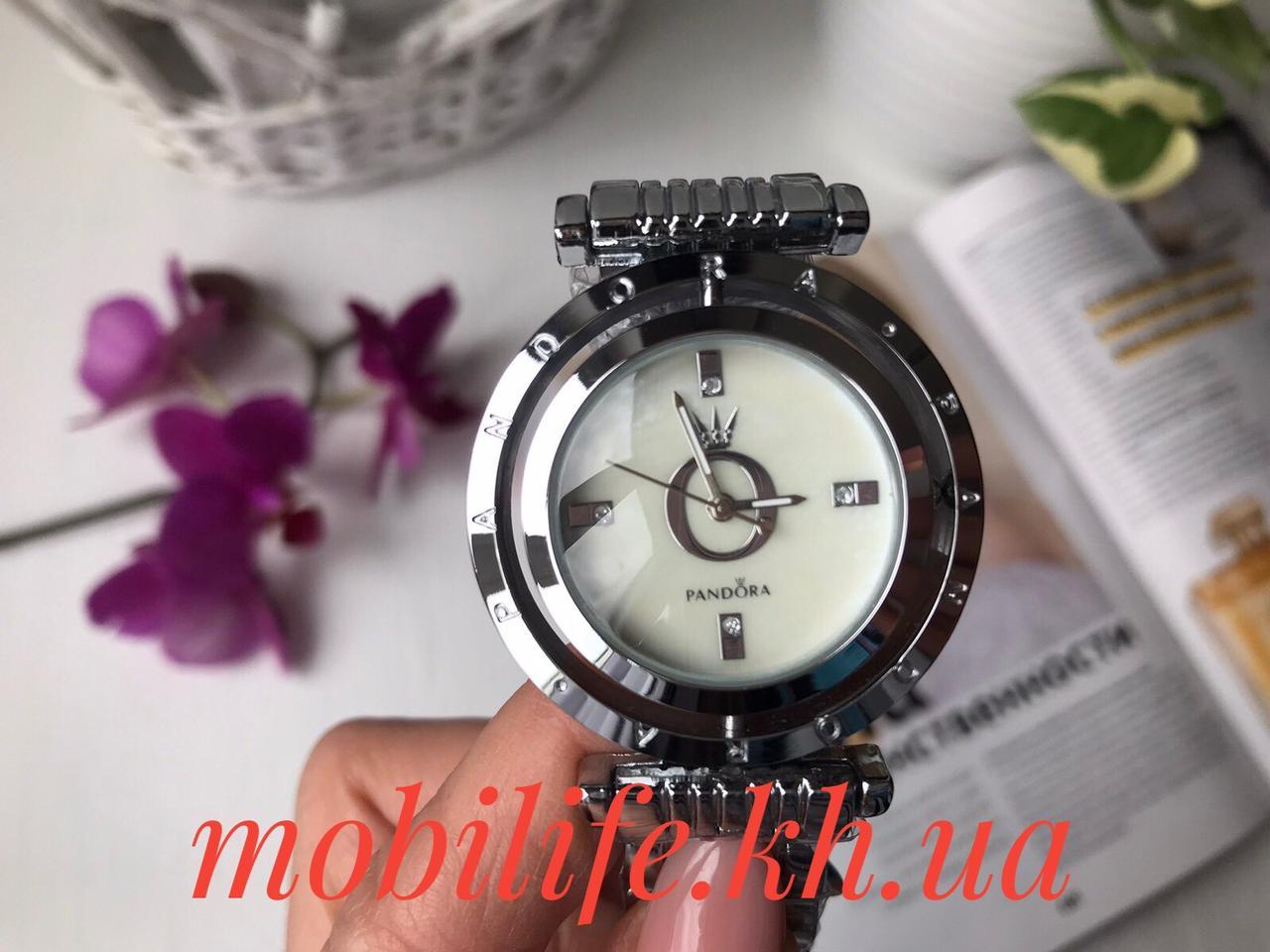 Часы женские копия Lux Pandora серебро с камнями/высокое качество/