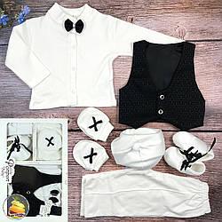 Нарядный набор с чёрной жилеткой и узором для малыша Размер: 0-3 месяца (20254)