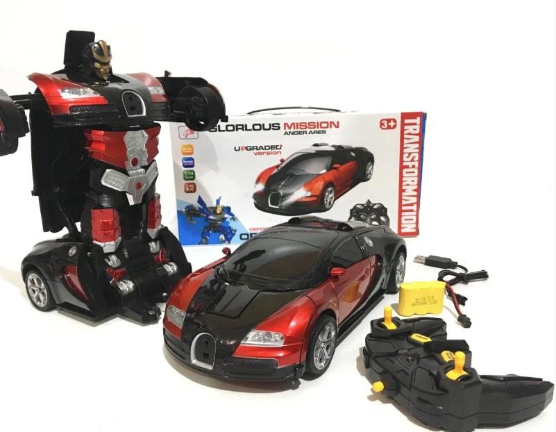 Машинка детская трансформер Glorlous Mission GTM на радиоуправлении Bugatti Robot Car Veyron красная (891208)